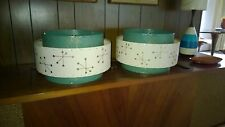 Pair of Mid Century Vintage Style 3 Tier Fiberglass Lamp Shades Atomic Starburst