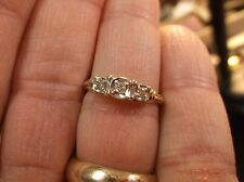 "PRETTY VTG? 10K YELLOW GOLD & 3 STONE DIAMOND ART DECO STYLE ""LOVE"" WEDDING RING"