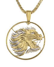 "Lion Pendant & Necklace. African Lion Coin Hand cut - 7/8"" diameter ( # 95 )"