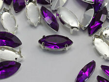15x7mm Purple Amethyst Navette Fancy Gems & Cup Settings - 24 Pieces