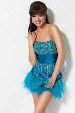 Jovani Turquoise Strapless Embellished Short Prom Evening Party Dress Sz 0 NWT