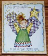Stamps Happen 80203 ANGEL STAR WISH Large Birthday Holiday Stamp _ New