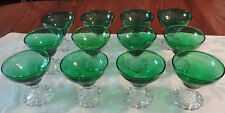 VINTAGE Anchor Hocking FOREST GREEN Berwick INSPIRATION Set /12 SHERBET Sherbert
