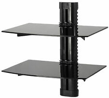 VIVO Floating Wall Mount Tempered Dual Glass Shelf for DVD Player, Game System