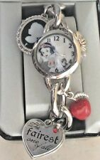 DISNEY SNOW WHITE WATCH ON SILVER STAINLESS STEEL CHARM BRACELET NEW IN BOX!