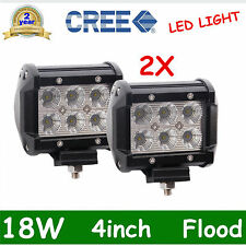 2x 4in 18W CREE LED LIGHT BAR WORK FLOOD LAMP OFFROAD BOAT UTE TRUCK SUV CAR