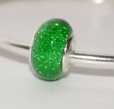 DEEP GREEN GLITTER SPARKLY BEAD Silver European Charm for Bracelet