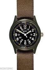 MWC Olive Drab 1960/70s Vietnam Pattern Military Watch on Khaki Webbing Strap