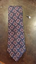 ADOLFO BLUE RED SQUARE SCROLL PATTERN EXECUTIVE  MENS SUIT NECKTIE FREE SHIPPING