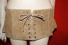 Década de los 70 Años gamuza auténtica Cinturón De Cuero Talla 34 Beige 18 cm