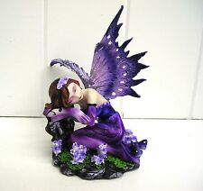 G91590 MINI LAVENDER SITTING FLOWER FAIRY STATUE FIGURINE GSC FANTASY