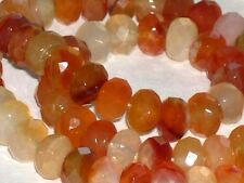 Carnelian faceted rondelle beads 5x8mm, high quality natural gemstone, full stra