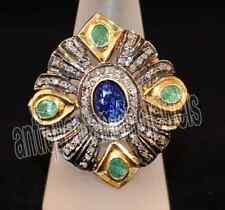 2.55ct ROSE CUT DIAMOND B.SAPPHIRE &  EMERALD .925 STERLING SILVER / RING