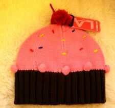 LA Gear Girls Chocolate Brown Pink Strawberry cup cake pom pom beanie hat BNWT