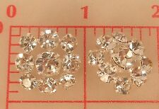 """2 vintage silver Czech shank buttons 3 size sparkly rhinestones 7/8"""" 22mm #113"""