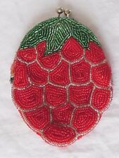 Vintage Seed Bead Red Silver Green Strawberry Coin Purse Estate