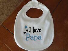 Embroidered Baby Bib - I Love Papa - Boy