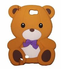 BROWN Super Cute Bow Bear Soft Silicone Case for Samsung Galaxy Note 2 II N7100