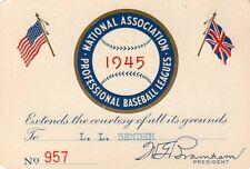 1945 N.A.P.B.L Minors Pass Ticket Richie Ashburn Age18/G 106/BA 311/Blue Sox Phi