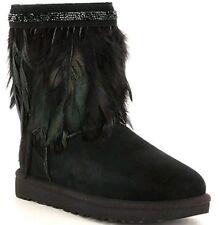 NWT UGG Australia Classic Short Peacock Boot Black Sheepskin Women Size 7 $320