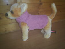 NEW  SMALL  8 INCH HAND  KNITTED DOG COAT/JUMPER PINK CHIHUAHUA/TERRIER