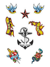 Pack Of 8 Sailor Pirate Nautical Marine Fake Transfers Tattoos Fancy Dress New