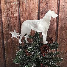 Irish Wolfhound, Dog Christmas Tree Topper, Holiday Decoration, metal, silver