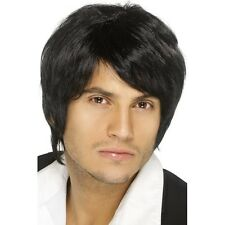 Mens 90's Black Boy Band Wig Fancy Dress Costume Pop Music Theme Long Fringe Fun