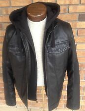 Rock Republic Jacket Black Imitation Hoodie Biker Jacket $200 NEW NEW Size L