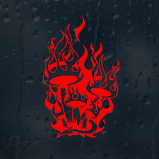 Funny Red Flame Mushrooms In Fire Car Or Laptop Decal Vinyl Sticker For Window