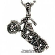 Men's 3D Ghost Rider Skull Biker Motorcycle Stainless Steel Pendant + Chain