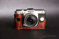 Handmade Genuine real Leather Half Camera Case bag cover for Pentax Q10 brown