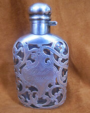 """ANTIQUE STERLING SILVER OVERLAY FLASK """"DAD 50 YEARS"""""""