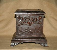 ANTIQUE FRENCH BLACK FOREST HAND CARVED WOOD JEWERLY TRINKET BOX VINE LEAVES XIX