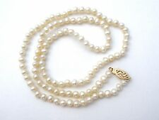 "Freshwater Pearl Necklace 14K Gold Clasp Hand Knotted 20"" Beaded Wedding Jewelry"