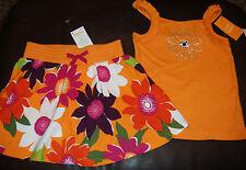 Gymboree Wild for Zebra rhinestone flower top & floral knit skort skirt NWT 8
