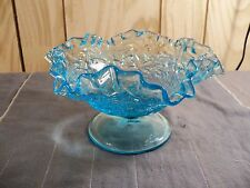 Westmoreland Maple Leaf Blue Glass Footed Bowl or Candy Dish Item 708