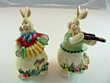 Bunny Rabbit Figurine Violin Accordion Easter Home Decor