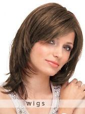 100% Echthaar Mittel Lang Perücke Damen Natural Braun Glatt Haar Perücken Neu