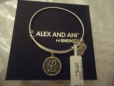 Alex and Ani Initial L Charm Bangle Bracelet Russian Silver New W/Tag Card & Box