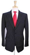 * TOM FORD * Recent Black Bold Pinstripe 2-Btn Wool-Mohair Luxury Suit 40R