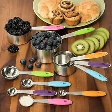 10PCS Kitchen Stainless Steel Tea Measuring Cup Spoon Baking Teaspoon Scoop Set