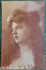 FRENCH FANTASY LADY VERY LONG HAIR-SEPIA-ANTIQUE VINTAGE RPPC PHOTO POSTCARD 8
