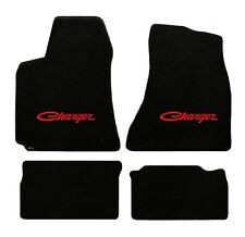 NEW! BLACK FLOOR MATS 1968-1970 Dodge Charger Script Embroidered Logo in Red 4pc