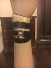 """Lisa Stewart Black Leather Wrap Bracelet With Silver Toned Initial """"P"""""""