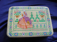 Vintage toffee tin = CRINOLINE lady-faux embroidered picture decoration