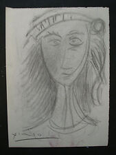 PABLO  PICASSO   drawing on original paper  of the 70s