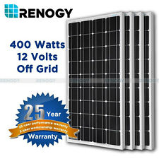 Renogy Solar PV Panel 4Pcs 100W 400 Watts Mono Off Grid 12V RV Boat Home System