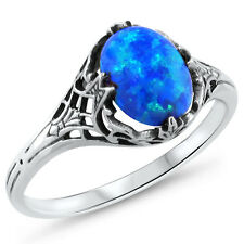 BLUE LAB FIRE OPAL ANTIQUE DECO STYLE .925 STERLING SILVER RING SIZE 10, #397
