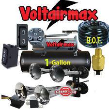 """4 Trumpet Air Horn 16"""" #RV1234 Compressor, Hose,1gal tank170dB Train 200 PSI Kit"""